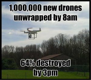 1,000,000 new drones unwrapped by 8am, 64% destroyed by 3pm.